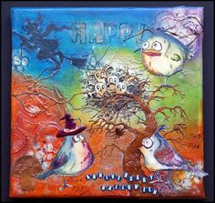 Mixed-media Halloween canvas with inks and paints - Crazy Birds by Tim Holtz, Skully (Stampotique Originals), and Katzelkraft stamps