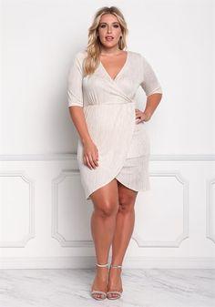 Plus Size Shimmer Faux Wrap Dress Big Girl Fashion c5d51eea5240