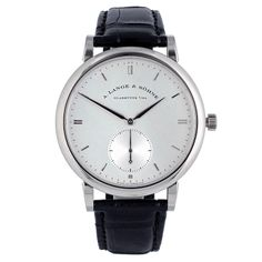 A. Lange & Sohne White Gold Saxonia Wristwatch | From a unique collection of vintage wrist watches at http://www.1stdibs.com/jewelry/watches/wrist-watches/