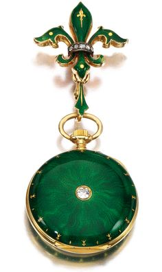 GEM SET AND DIAMOND PENDANT WATCH, LATE 19TH CENTURY, applied with guilloché green enamel inset with circular-cut and rose diamonds, dial signed Golay-Leresche & Co, Genève