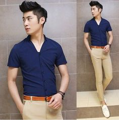 Sexy Open V-Neck Charming Men Summer Tops Cool Man Fashion Shirts Summer Hot Item $24.78