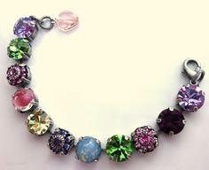 swarovski crystal tennis bracelet bright tones 11mm by siggysbeads, $48.50