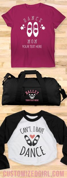 Every day is national dance day! Celebrate your love of dance with custom shirts, sweatshirts, and bags! #dance