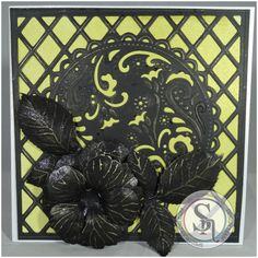 Vicky Plownan-Render - Spectrum Noir Sparkle Pens - Metallics: Onyx Black, Spun Gold - Watercolour Card - Sheena's Perfect Partner Rose stamp and die - Matt Black Card   - Die'sire Ornate Lattice Create a Card die - Pebeo Empire Gold Gilding Wax - #crafterscompanion #spectrumnoir