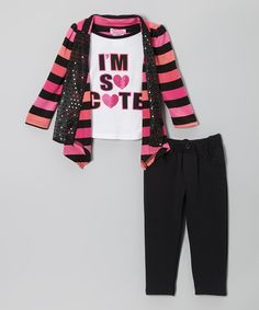 Pink 'So Cute' Layered Top & Charcoal Pants - Toddler