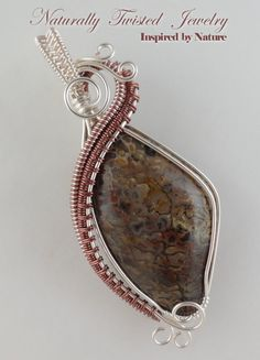 Dino Bone Wire Wrapped Pendant  with Black Leather by MaryOlczyk, $50.00