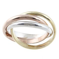 Interlocking three-band ringTri-color sterling silver jewelry Click here for ring sizing guide
