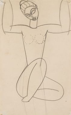 Amedeo Modigliani 1884 - 1920 CARIATIDE stamped with Paul Alexandre's collector mark (lower left) black crayon on paper 43 by 26.7cm., 17 by 10 1/2 in. Executed in 1910-11.