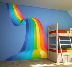 Rainbow Wave Decorative Decal A fantastic design from our collection of rainbow wall stickers. Rainbow Room Kids, Rainbow Bedroom, 3d Sticker, Unicorn Rooms, Rainbow Decorations, Colorful Wall Art, Room Wall Decor, My New Room, Girl Room