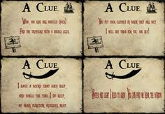 printable pirate clues. could be fun for school