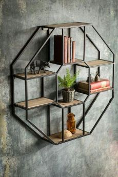 Vintage Decor Ideas Vagabond Vintage Iron and Wood Hexagonal Shelf - Iron and Wood Wall Shelf. Product Description Product Dimensions: x x SKU: M-HEX-SHELF Brand: Vagabond Vintage Wood Wall Shelf, Wall Shelves, Wall Storage, Iron Furniture, Furniture Design, Furniture Ideas, Pallet Furniture, Furniture Makeover, Furniture Online