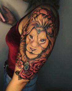 Lion Tattoos for Women lion tattoo Dope Tattoos, Girly Tattoos, Pretty Tattoos, Body Art Tattoos, Tatoos, Tattoo Bunt, Mädchen Tattoo, Manga Tattoo, Chest Tattoo