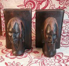 Vtg. wooden Native African Head Book Ends