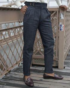 Gurkha Denim Pants (Japanese Denim) – ALBERT Tailored Fashion, Trendy Mens Fashion, Indian Men Fashion, Suit Fashion, Fashion Pants, Men Trousers, Mens Dress Pants, Denim Pants, Mens Pleated Trousers