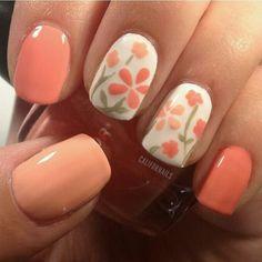 flower orange nail art Flower Nail Art 2014