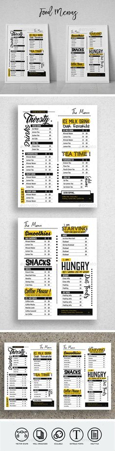 Cafe Food Menu — Photoshop PSD #drink #black • Download ➝ https://graphicriver.net/item/cafe-food-menu/18850787?ref=pxcr
