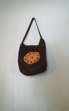 Brown Tote Bag Handbag Tote Refashioned by OTTO4CREATIVITY on Etsy