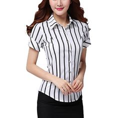 "Women Business Striped Button Down Work Shirts Short Sleeves Blouse Tops White M. Fair Warning:along with the arrival of the rush season,all kinds of cheaters are emerge in an endless stream,especially during the festivals.When you are shopping,please make sure of the original seller ""Annystore""of the store.If not,you will lose your money beacause those cheaters never ship goods.So please be careful to do shopping during the festivals! When you see the prodcts not sold by ""Annystore"",please…"