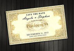 Wedding invitation, Harry Potter Save the date Train Ticket Invitation, Harry…