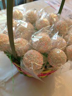 An Easter basket full of cake pops