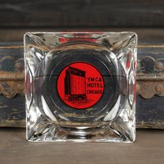 Vintage YMCA Hotel Chicago clear glass ashtray. The red and black painted graphic is nice and bright by Misinterpreted on etsy