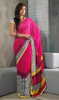 Simplistic elegance flaunted by this off white and pink faux georgette saree. The lace work appears to be like chic and excellent for any get together. #NewDesignCasualSaree