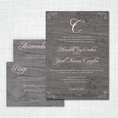 Vintage Wood Wedding Invitation - a beautiful way to add a touch of rustic elegance to your wedding day! - holly's joy on etsy