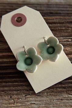 Earrings - Light Green Porcelain Flowers