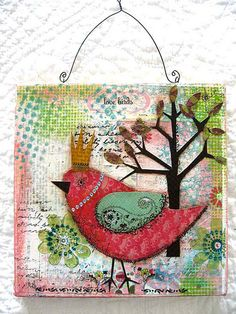 birds watercolor painting sketch winter bird canvas--Wendy Schultz via Sue Cook onto Mixed Media. Mixed Media Collage, Mixed Media Canvas, Collage Art, Collages, Canvas Collage, Painting Collage, Painting Abstract, Acrylic Paintings, Altered Canvas