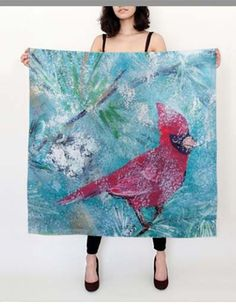 Large Silk Cardinal Scarf by KathysCraftShop on Etsy 395f4625964a