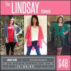 "The LINDSAY KIMONO features loose, 3/4 length sleeves & a scooped ""high-low"" hemline that drapes & flatters. The LINDSAY is made from polyester, lace & chiffon fabrics, delicate, durable & versatile. The LINDSAY is airy, comfortable, beautiful & sure to become your go-to layering piece. Shop LuLaRoe with Tamara Feather at https://www.facebook.com/groups/703261596502999/"