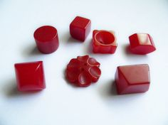 Vintage Odd Shapes Bakelite Buttons Red by ButtonsFromTheAttic, $16.00