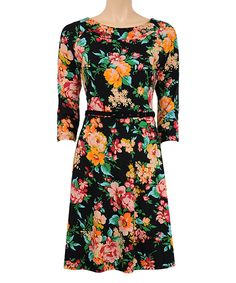 Look what I found on #zulily! Louie et Lucie Black Floral Belted Dress by Louie et Lucie #zulilyfinds