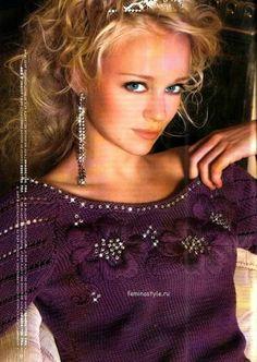 Пуловер с вышивкой спицами. http://feminastyle.ru/blog/Domovodstvo/Rukodelnica/765936_Pulover_s_vyshivkoy_svyazannyy_spicami.html