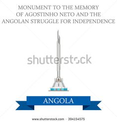Monument to the Memory of Agostinho Neto and The Angolan Struggle for Independence in Luanda Angola. Flat cartoon style historic sight attraction web site vector illustration. World Africa collection. - stock vector