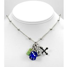 Amazon.com: Designer Games of Chance Necklace. Dice, Cards & Dominoes. Gambling, Gaming! Las Vegas: Jewelry