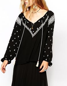 Enlarge Kiss The Sky Embroidered Top With Tassles