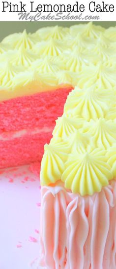 YUM! Love this Pink Lemonade Cake from Scratch! - Recipe by MyCakeSchool.com.