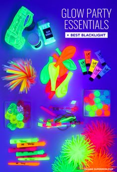 The ULTIMATE Blacklight Party Guide - glowing decor ideas, glowing food ideas, the BEST blacklight, and the coolest glow-in-the-dark party favors via Party Glow Party Ideas - Ultimate Guide: How to Throw a Black Light Party Glow Party Ideas, Glow Party Decorations, 18th Party Ideas, Glow Party Supplies, Black Light Party Ideas, Glow Party Food, Candy Centerpieces, Quince Decorations, Quinceanera Centerpieces