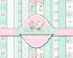 """Shabby chic digital paper: """"Pure Shabby"""" rose digital paper in pale blue and white, decoupage paper, shabby chic background, lace, damask"""