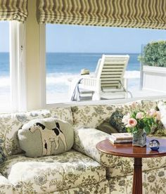 A sunroom—known in Malibu Colony as a teahouse—serves as the family room of a beachside home.