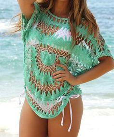 Jewel Neck Openwork Dolman Sleeve Bikini Cover-Up For Women