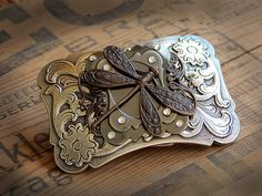 Womens Dragonfly Belt Buckle - Ornate Brass Crystal Embellished Scrolls - Ladies Romantic Feminine Patina on Etsy, $55.00