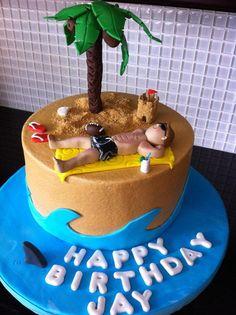 Beach bum cake Cake by Hawaii Birthday Cake, Hawaiian Party Cake, Birthday Cakes For Men, Themed Birthday Cakes, Charlotte Cake, Beach Themed Cakes, Cake For Husband, Sea Cakes, Retirement Cakes