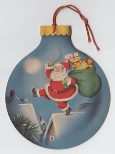 Vintage Greeting Card Christmas Santa Claus Die-Cut Ornament Norcross Santa e469