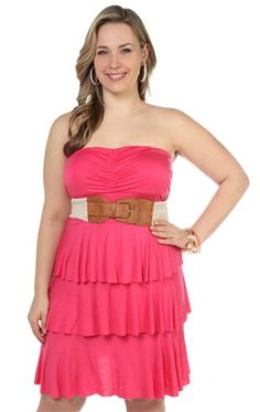 Deb Shops #coral plus size solid rayon jersey strapless triple tier day #dress