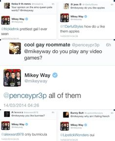 Amazing Mikey Way tweets, espECIALLy the top left hand corner one. Yesssssss!!!!>>> My fave is the bottom right one