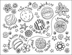 Girl Scout Brownie Clip Art coloring sheets | Girl Scout Cookie Coloring Page