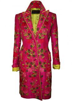Luminous Pink Fab Flowers Peking Lapel Coat