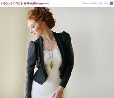 Women Grey Jacket / Puffed Sleeves Dark Gray by PizkaFashion, $101.15
